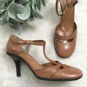 Enzo Angiolini Tan Leather T-Strap Maryjane Heels